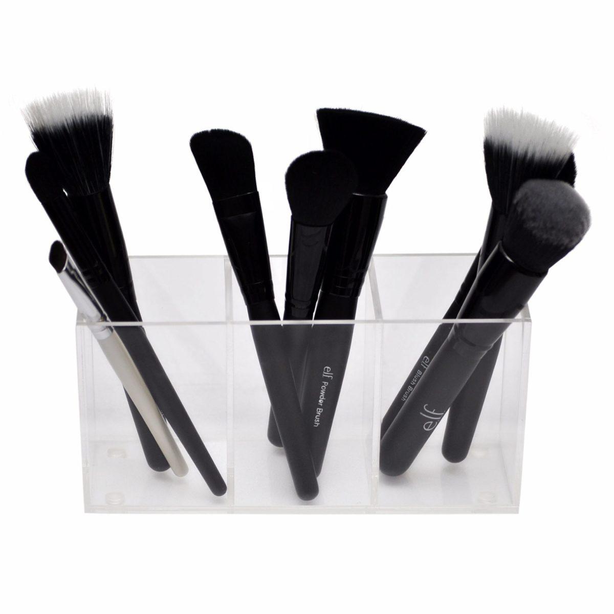 3 compartment brush holder